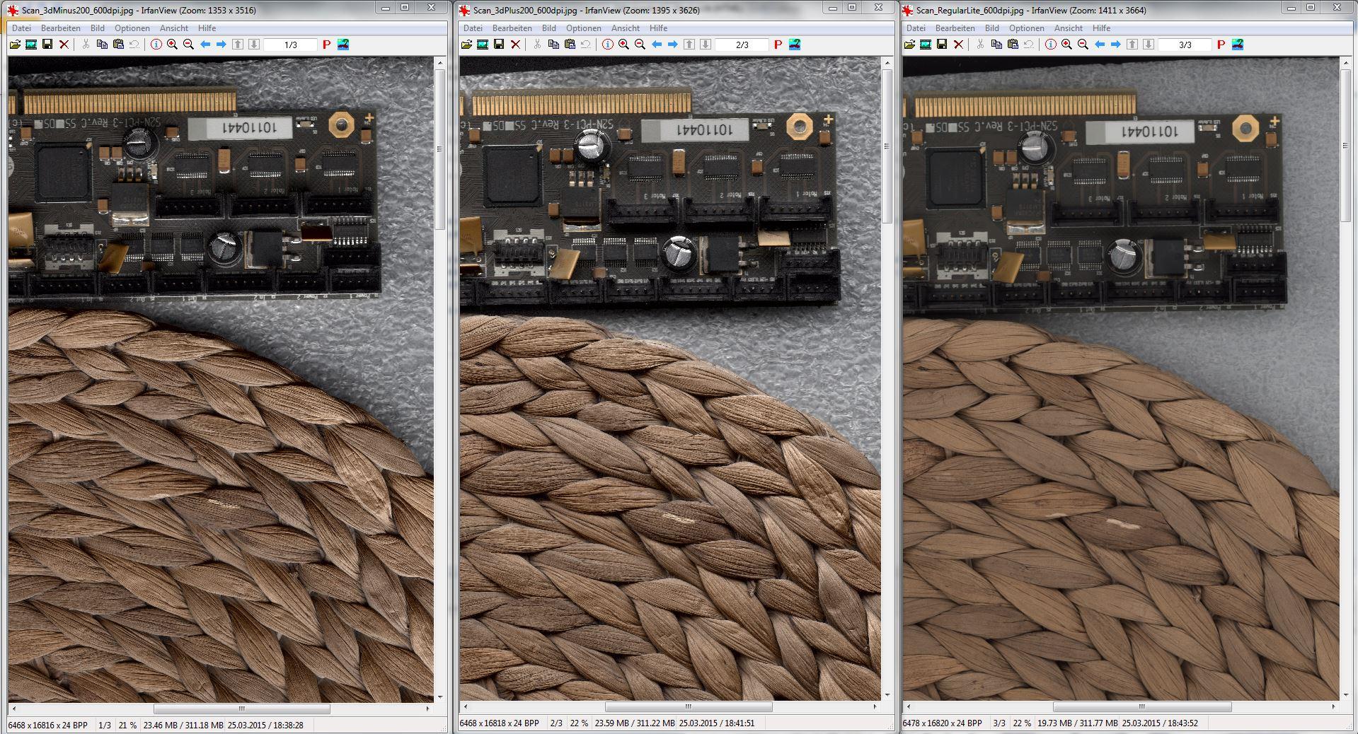 藤垫及电路板图像是以600 DPI扫描