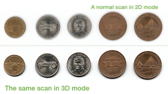 以上图片显示出V3D - 3维视觉图像的扫描效果的效果, 上方为一般平面扫描的输出, 下方为使用了V3D - 3维视觉图像的影像效果